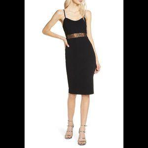 Lulu's dress Limo Ride lace inset black bodycon Lg
